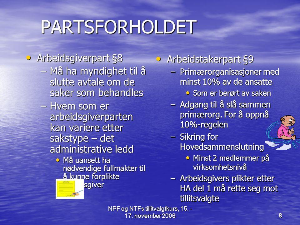 NPF og NTFs tillitvalgtkurs, 15. - 17. november 2006
