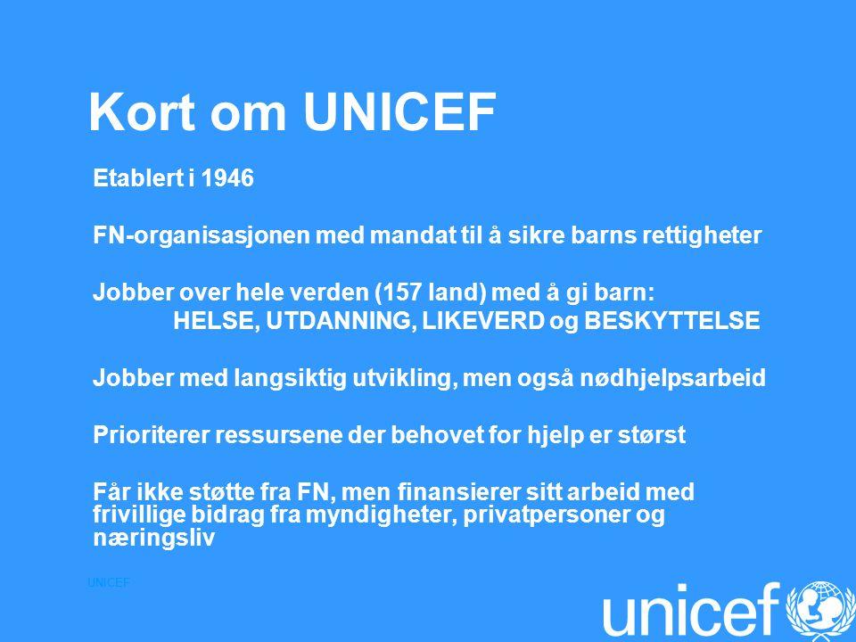 Kort om UNICEF Etablert i 1946