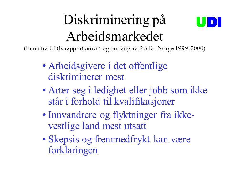 Diskriminering på Arbeidsmarkedet (Funn fra UDIs rapport om art og omfang av RAD i Norge 1999-2000)