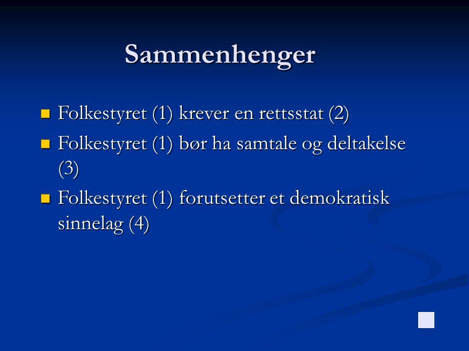 Sammenhenger Folkestyret (1) krever en rettsstat (2)