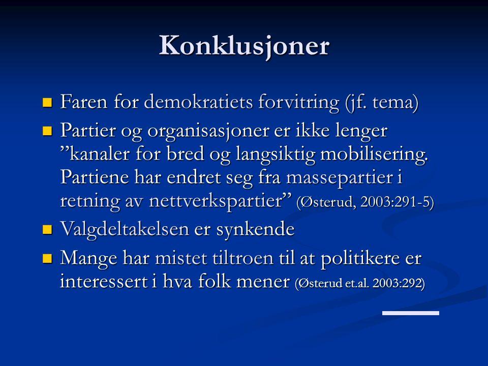 Konklusjoner Faren for demokratiets forvitring (jf. tema)