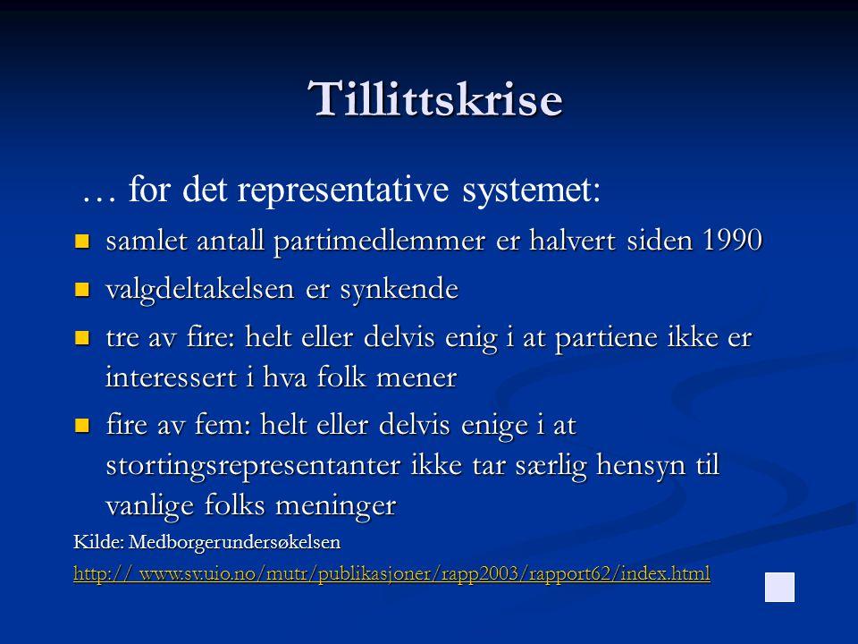 Tillittskrise … for det representative systemet: