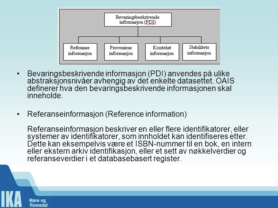 Bevaringsbeskrivende informasjon (PDI) anvendes på ulike abstraksjonsnivåer avhengig av det enkelte datasettet. OAIS definerer hva den bevaringsbeskrivende informasjonen skal inneholde.