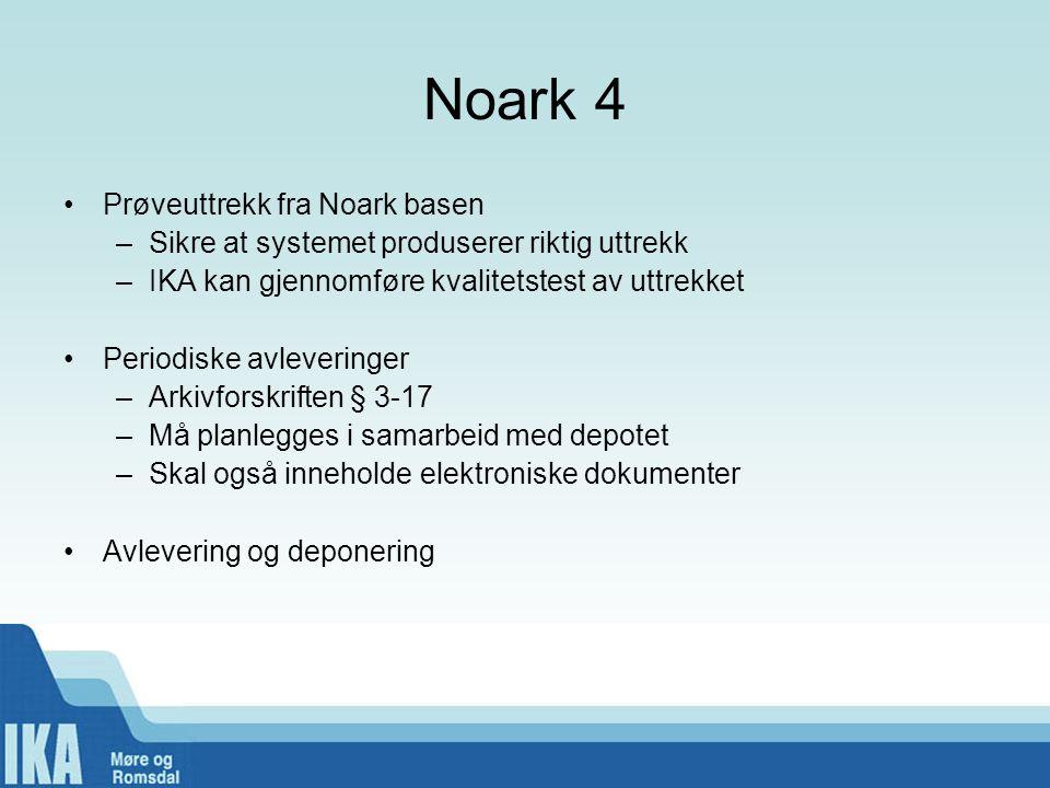 Noark 4 Prøveuttrekk fra Noark basen