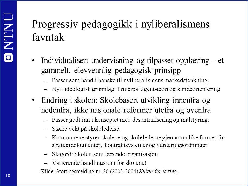 Progressiv pedagogikk i nyliberalismens favntak