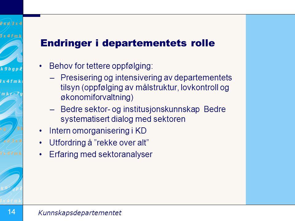 Endringer i departementets rolle