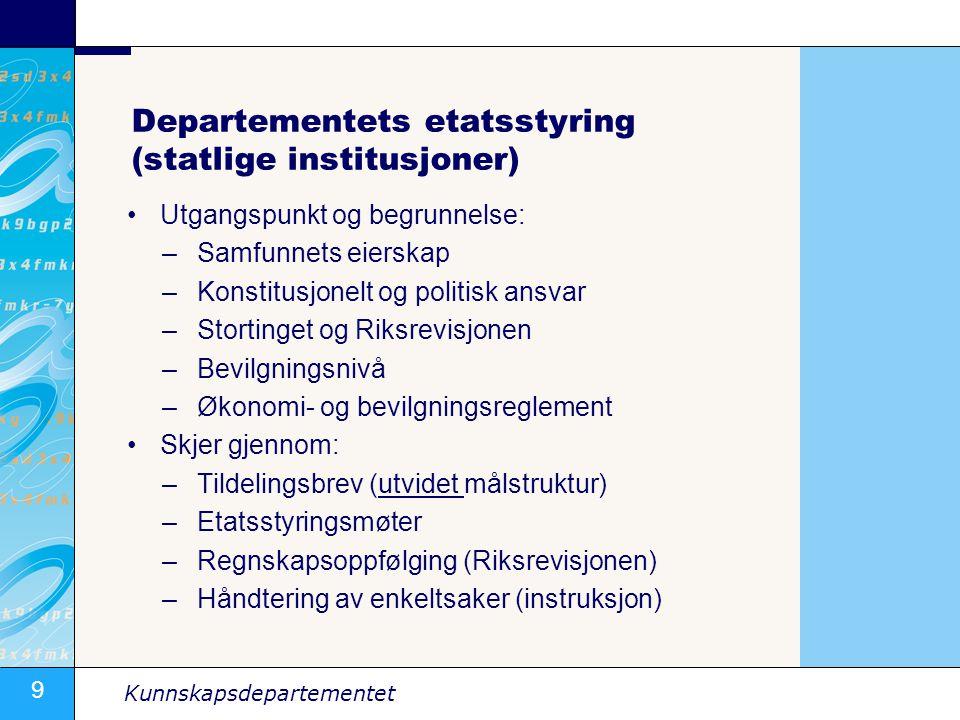 Departementets etatsstyring (statlige institusjoner)