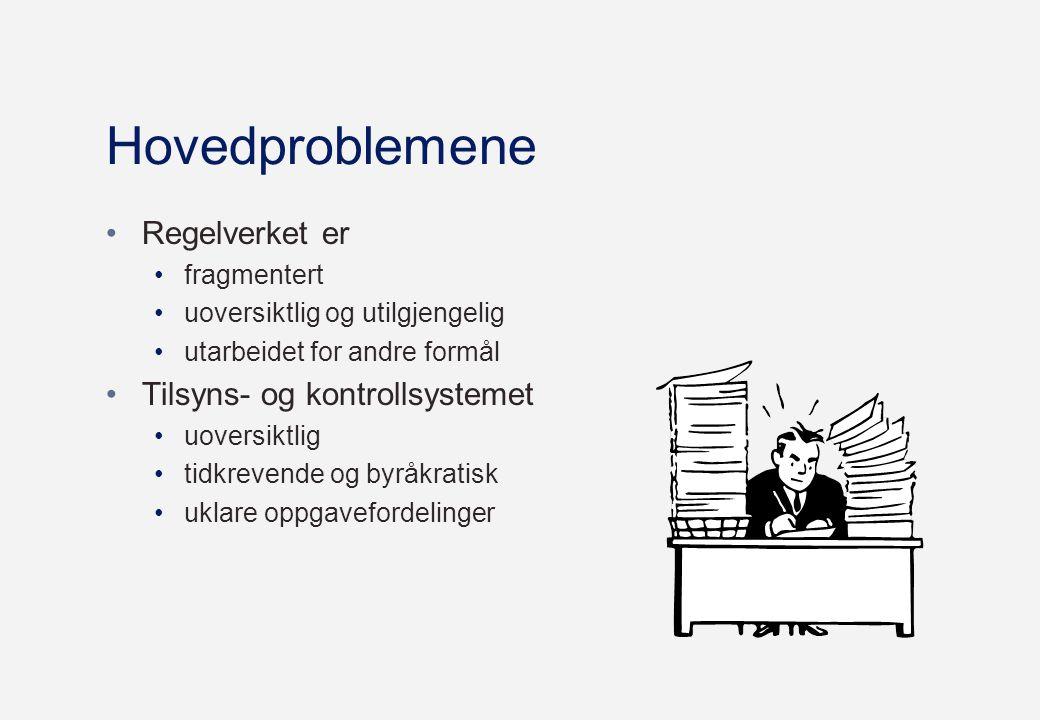 Hovedproblemene Regelverket er Tilsyns- og kontrollsystemet