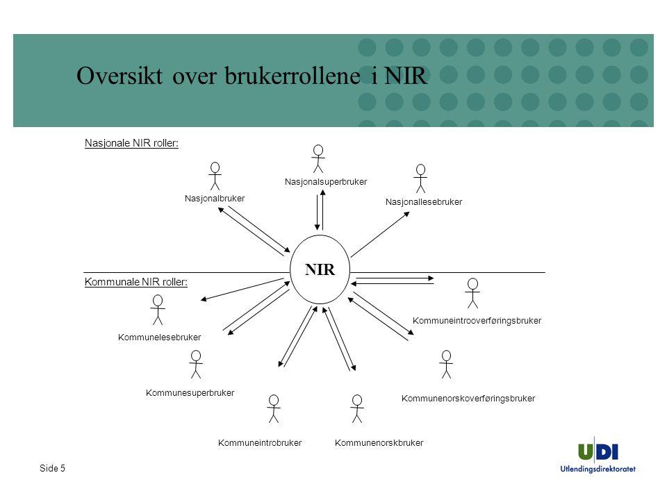 Oversikt over brukerrollene i NIR