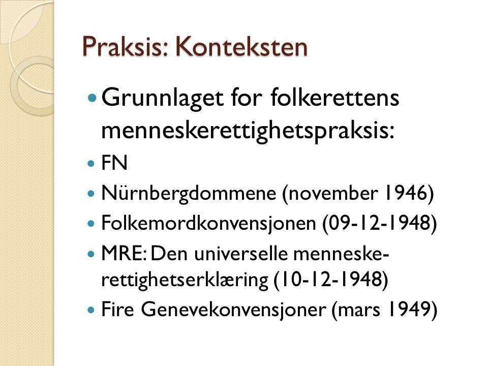 Praksis: Konteksten Grunnlaget for folkerettens menneskerettighetspraksis: FN. Nürnbergdommene (november 1946)