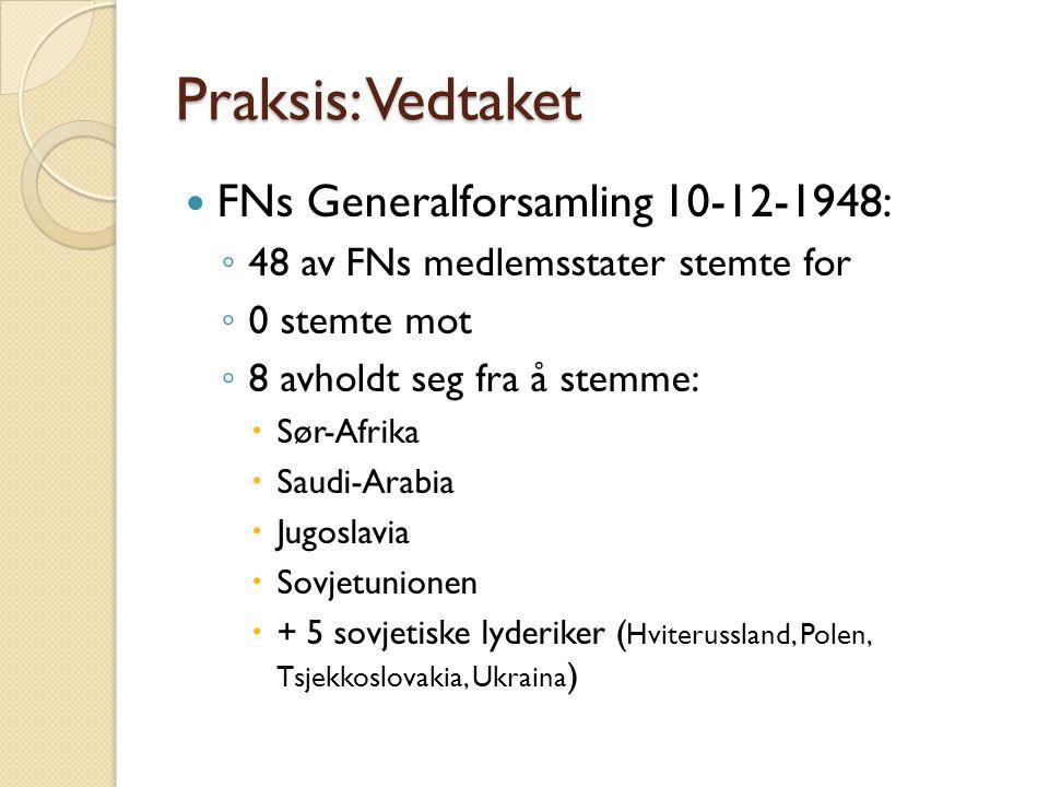 Praksis: Vedtaket FNs Generalforsamling 10-12-1948: