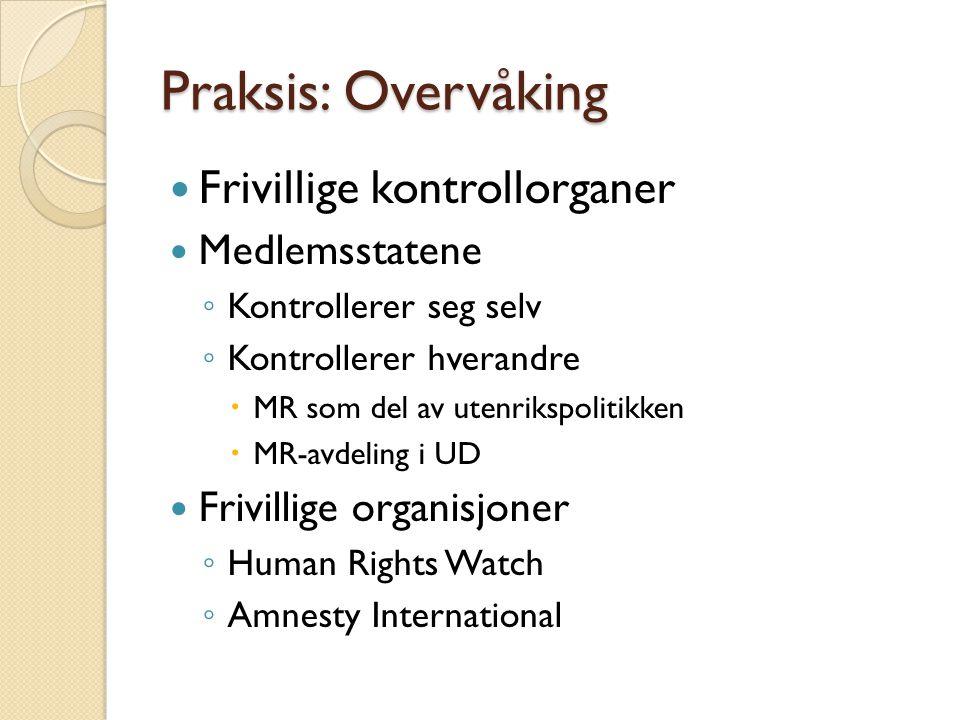 Praksis: Overvåking Frivillige kontrollorganer Medlemsstatene