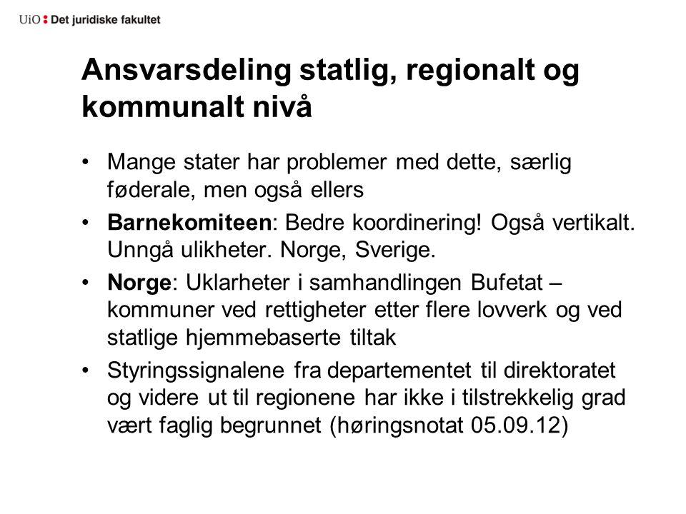 Ansvarsdeling statlig, regionalt og kommunalt nivå