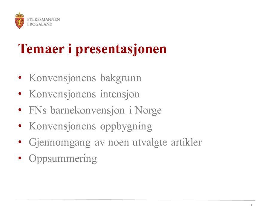 Temaer i presentasjonen