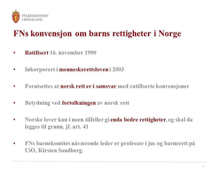 FNs konvensjon om barns rettigheter i Norge