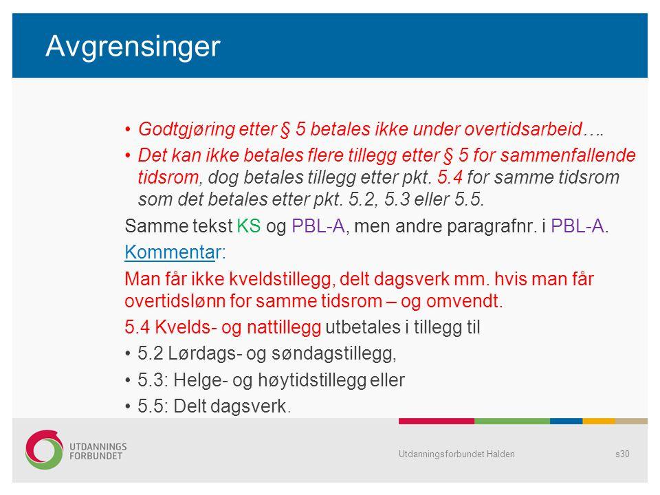 Avgrensinger Godtgjøring etter § 5 betales ikke under overtidsarbeid….