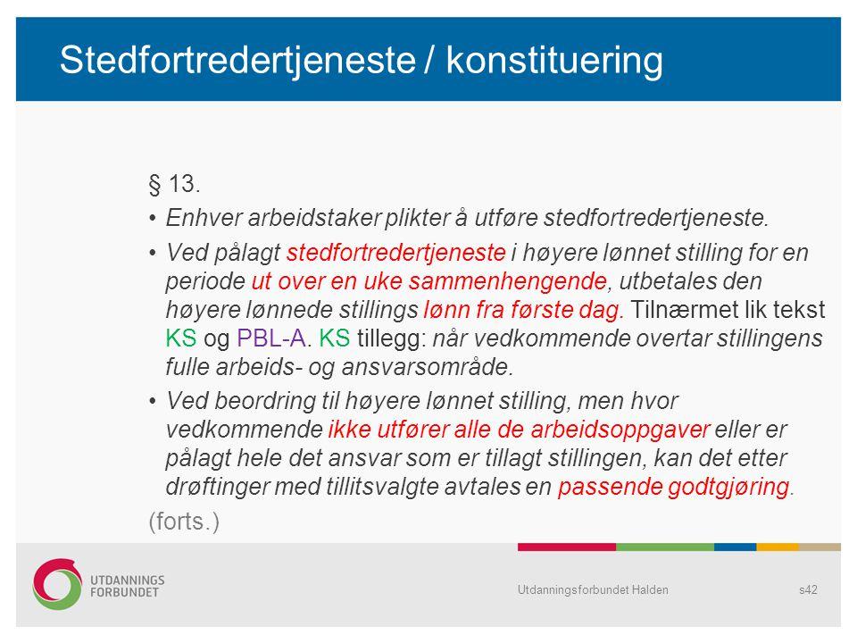 Stedfortredertjeneste / konstituering