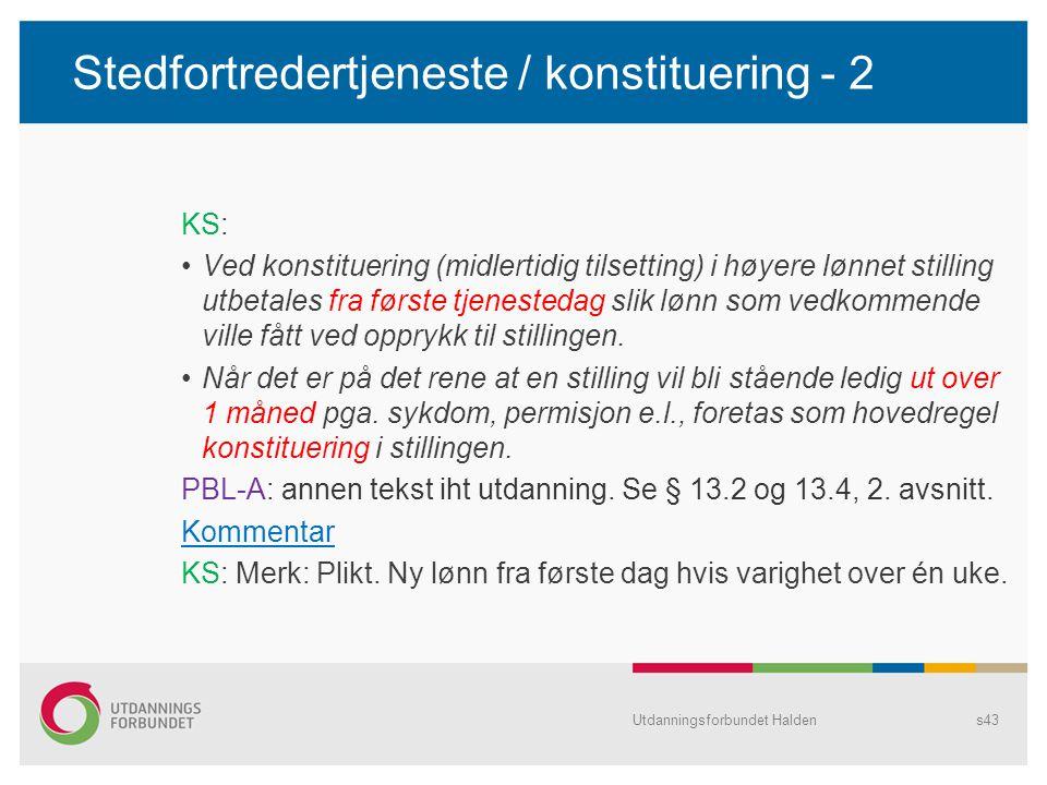 Stedfortredertjeneste / konstituering - 2