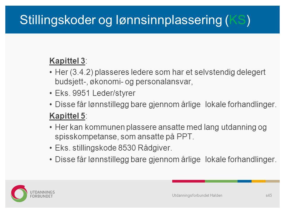 Stillingskoder og lønnsinnplassering (KS)
