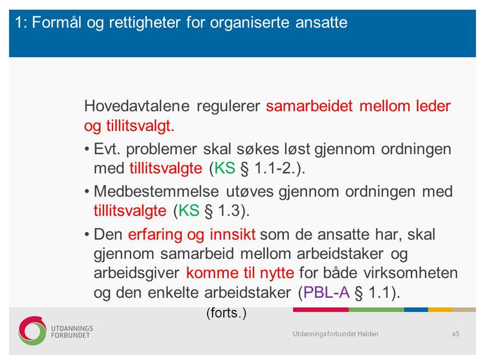 1: Formål og rettigheter for organiserte ansatte