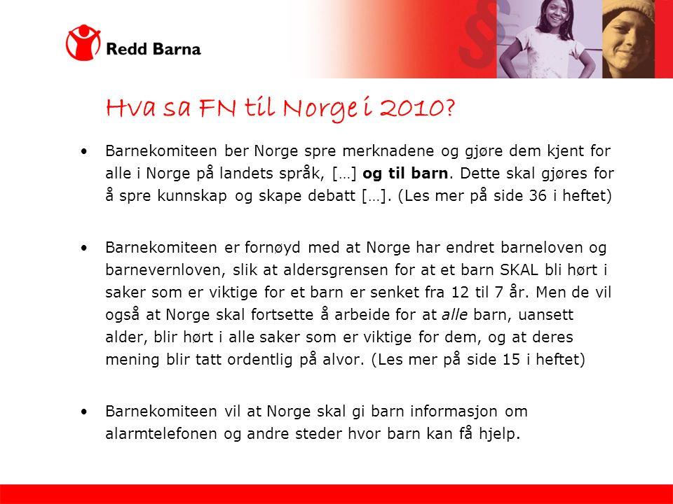 Hva sa FN til Norge i 2010