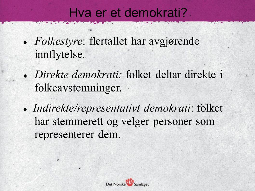 Hva er et demokrati Folkestyre: flertallet har avgjørende innflytelse. Direkte demokrati: folket deltar direkte i folkeavstemninger.