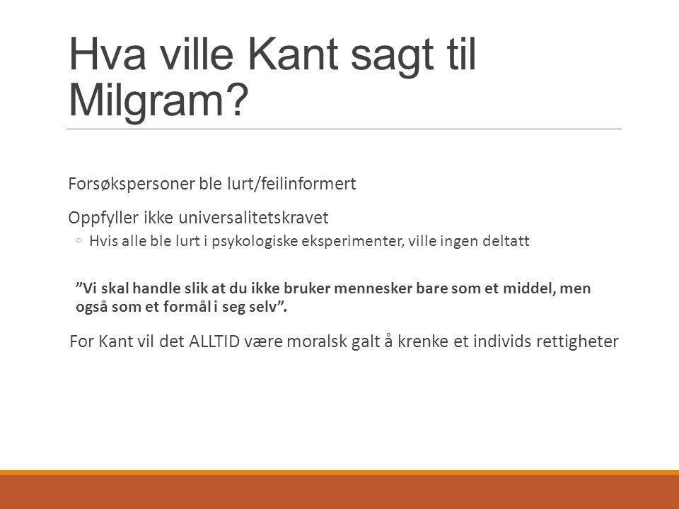 Hva ville Kant sagt til Milgram
