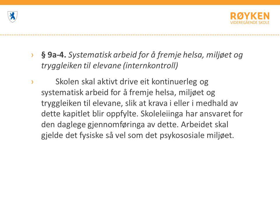 § 9a-4. Systematisk arbeid for å fremje helsa, miljøet og tryggleiken til elevane (internkontroll)