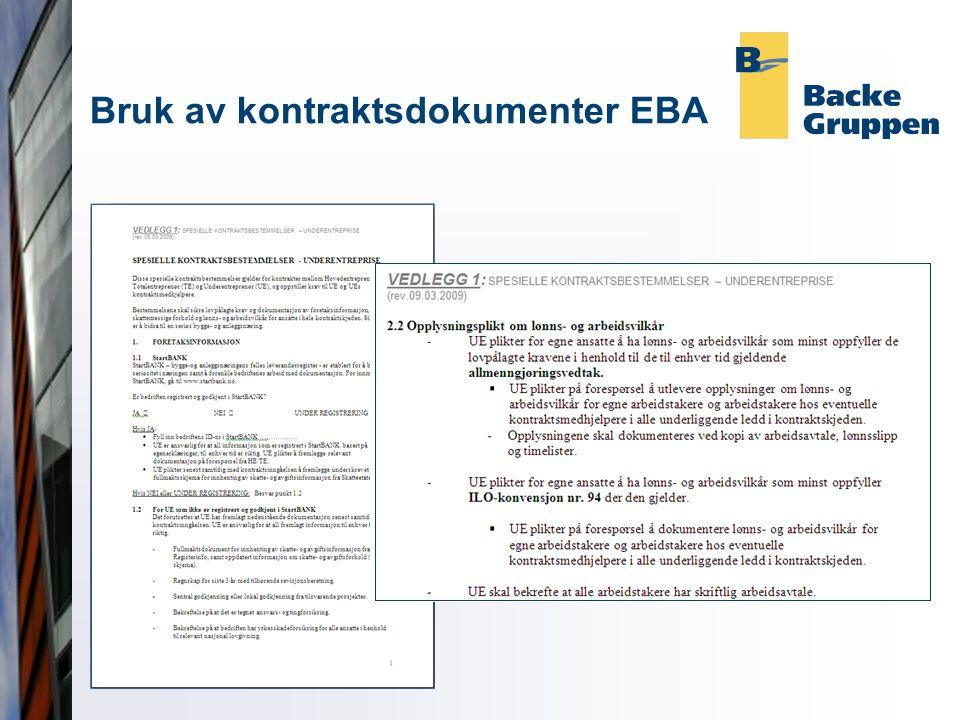 Bruk av kontraktsdokumenter EBA