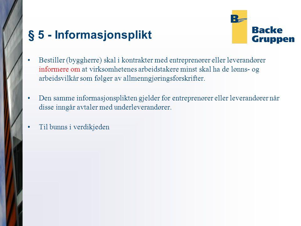 § 5 - Informasjonsplikt