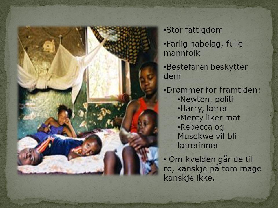 Stor fattigdom Farlig nabolag, fulle mannfolk. Bestefaren beskytter dem. Drømmer for framtiden: