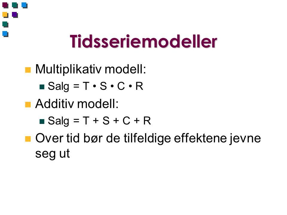 Tidsseriemodeller Multiplikativ modell: Additiv modell: