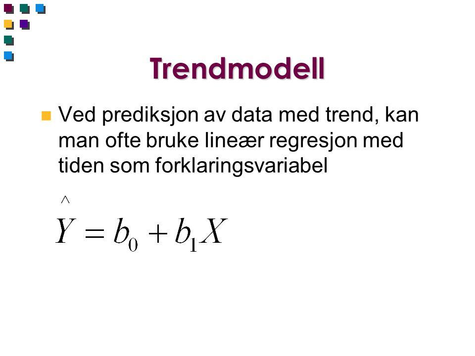 Trendmodell Ved prediksjon av data med trend, kan man ofte bruke lineær regresjon med tiden som forklaringsvariabel.