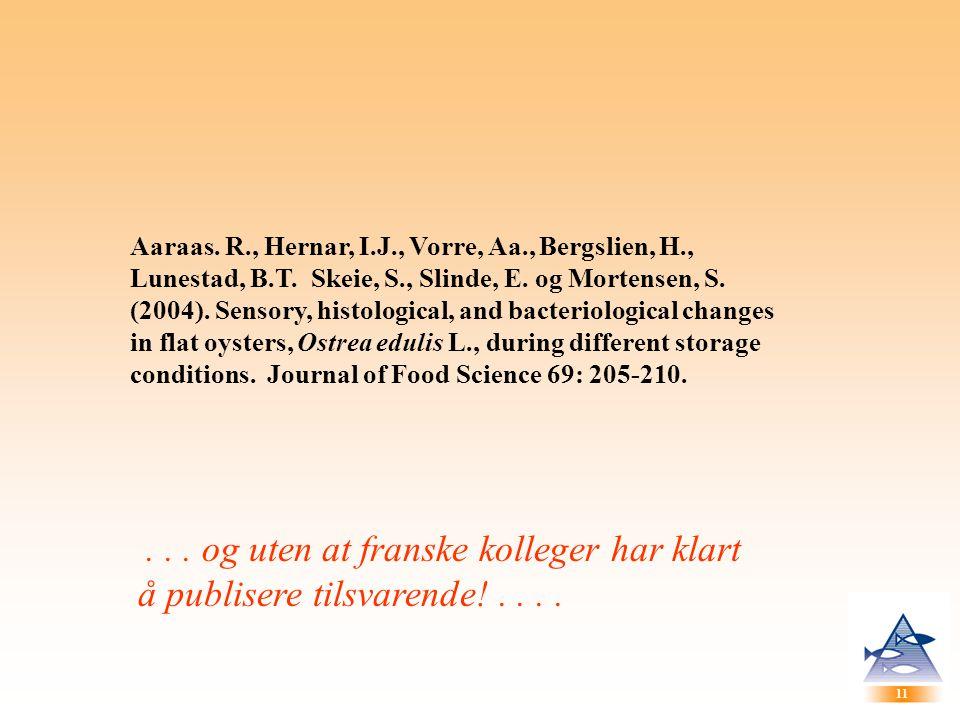 Aaraas. R. , Hernar, I. J. , Vorre, Aa. , Bergslien, H. , Lunestad, B