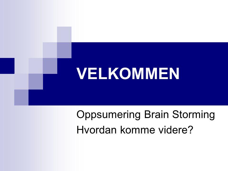 Oppsumering Brain Storming Hvordan komme videre