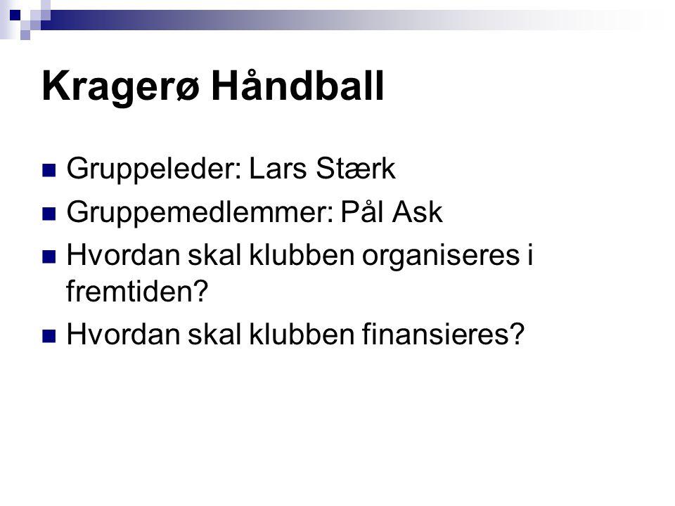Kragerø Håndball Gruppeleder: Lars Stærk Gruppemedlemmer: Pål Ask