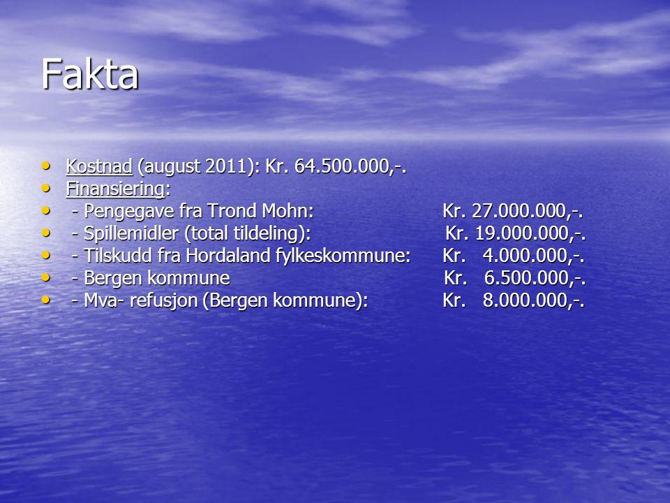 Fakta Kostnad (august 2011): Kr. 64.500.000,-. Finansiering: