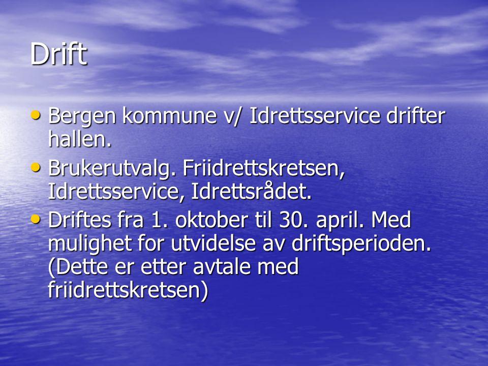 Drift Bergen kommune v/ Idrettsservice drifter hallen.
