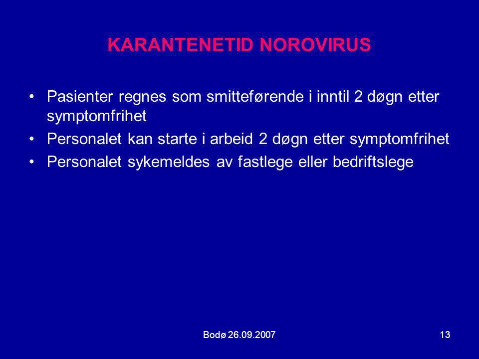 KARANTENETID NOROVIRUS