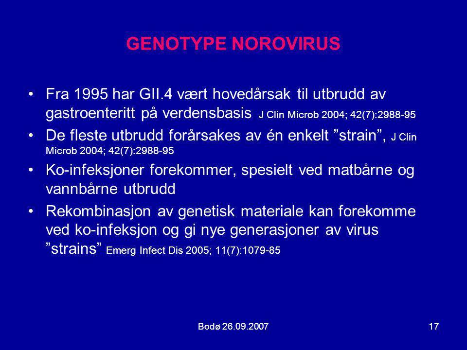 GENOTYPE NOROVIRUS Fra 1995 har GII.4 vært hovedårsak til utbrudd av gastroenteritt på verdensbasis J Clin Microb 2004; 42(7):2988-95.