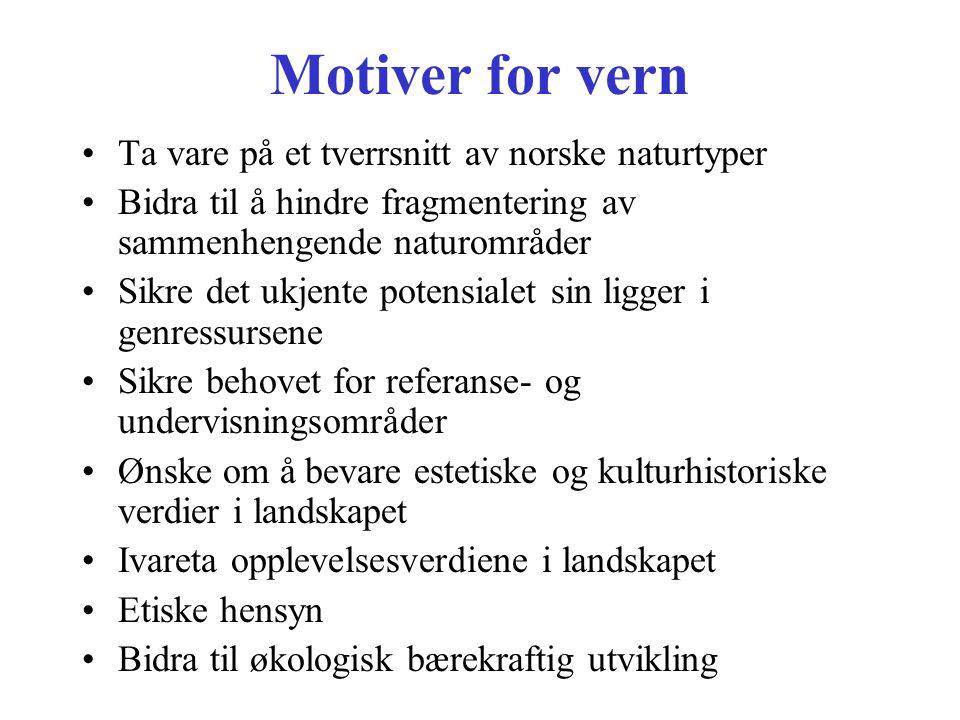 Motiver for vern Ta vare på et tverrsnitt av norske naturtyper