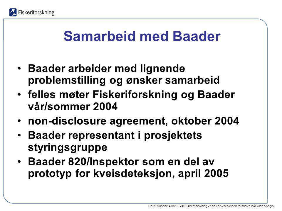 Samarbeid med Baader Baader arbeider med lignende problemstilling og ønsker samarbeid. felles møter Fiskeriforskning og Baader vår/sommer 2004.