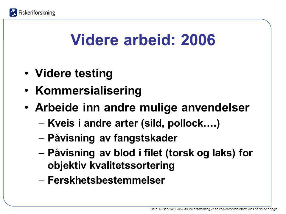 Videre arbeid: 2006 Videre testing Kommersialisering