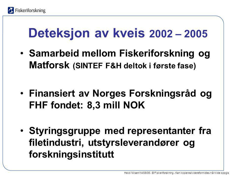Deteksjon av kveis 2002 – 2005 Samarbeid mellom Fiskeriforskning og Matforsk (SINTEF F&H deltok i første fase)