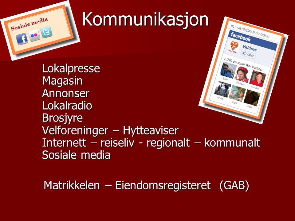 Kommunikasjon Lokalpresse Magasin Annonser Lokalradio Brosjyre Velforeninger – Hytteaviser Internett – reiseliv - regionalt – kommunalt Sosiale media.