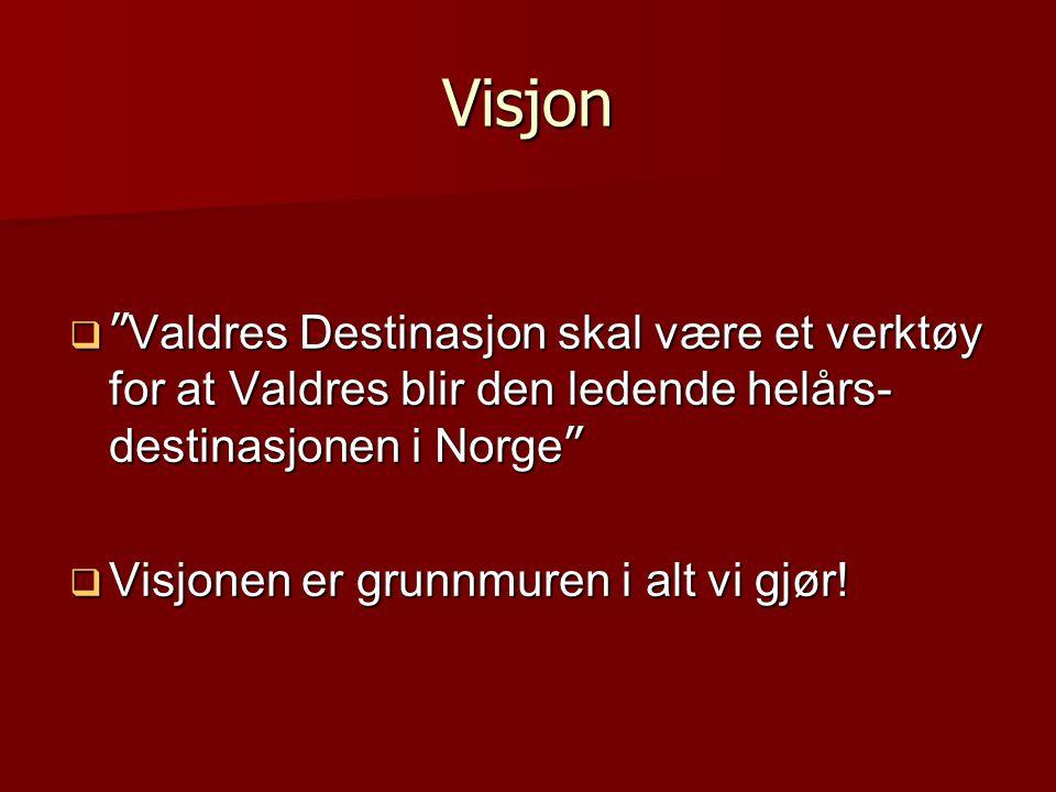 Visjon Valdres Destinasjon skal være et verktøy for at Valdres blir den ledende helårs- destinasjonen i Norge