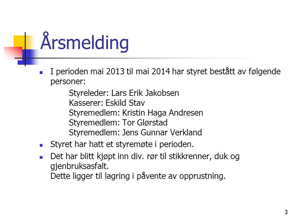 Årsmelding I perioden mai 2013 til mai 2014 har styret bestått av følgende personer: