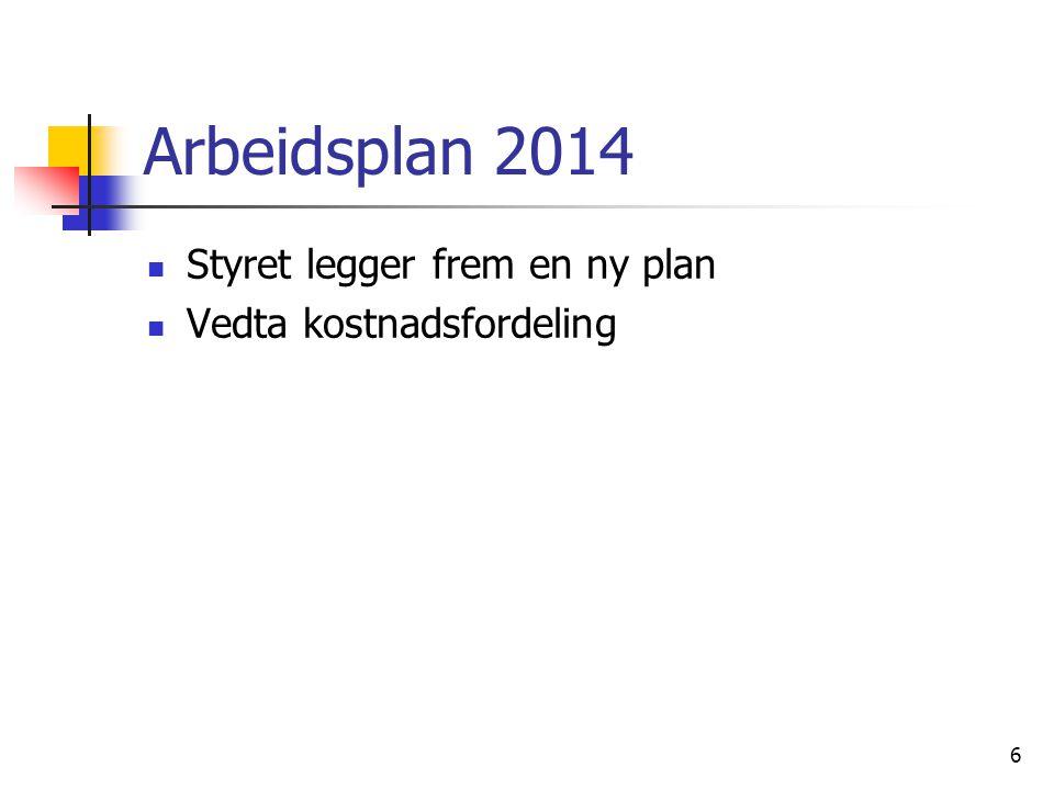 Arbeidsplan 2014 Styret legger frem en ny plan Vedta kostnadsfordeling