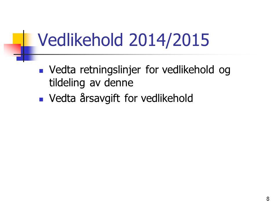 Vedlikehold 2014/2015 Vedta retningslinjer for vedlikehold og tildeling av denne.