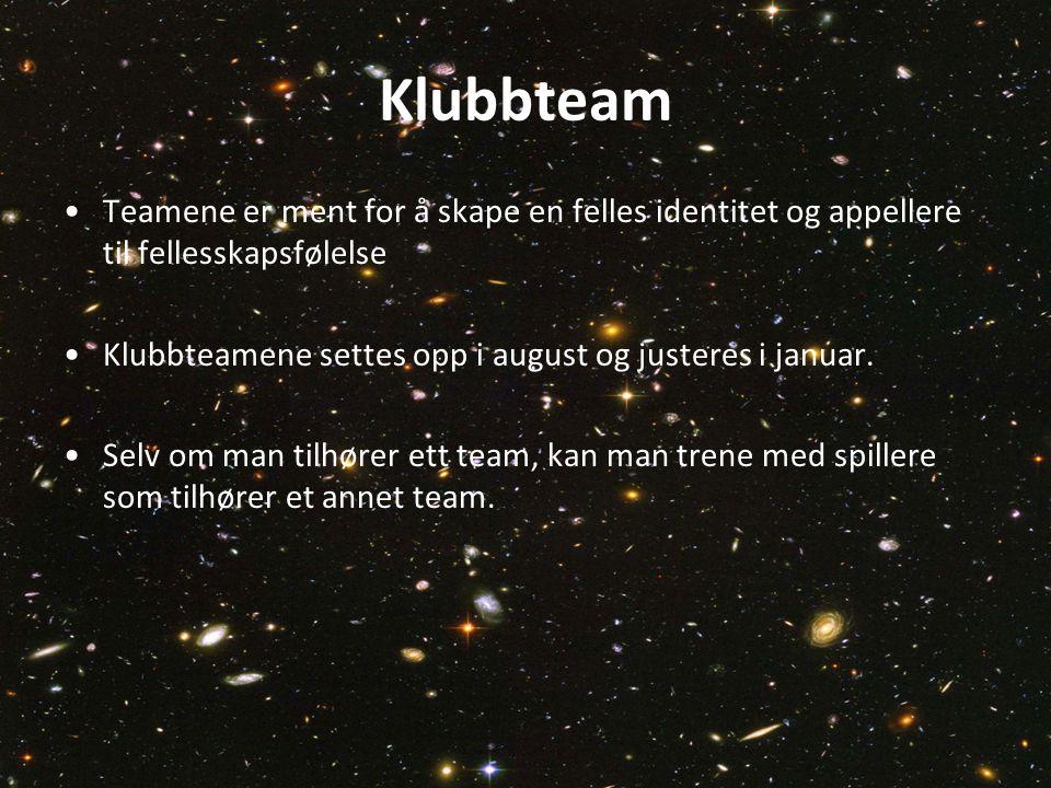 Klubbteam Teamene er ment for å skape en felles identitet og appellere til fellesskapsfølelse.